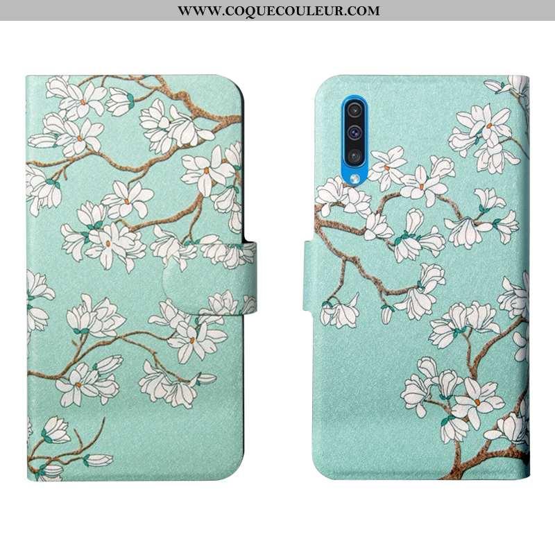 Housse Samsung Galaxy A50s Personnalité Vert Nouveau, Étui Samsung Galaxy A50s Créatif Simple Verte