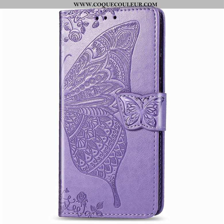 Coque Samsung Galaxy A50s Protection Fleur Étui, Housse Samsung Galaxy A50s Cuir Violet