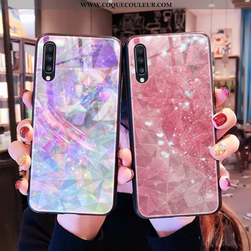 Coque Samsung Galaxy A50s Téléphone Portable Rose, Housse Samsung Galaxy A50s Étoile Losange Rose