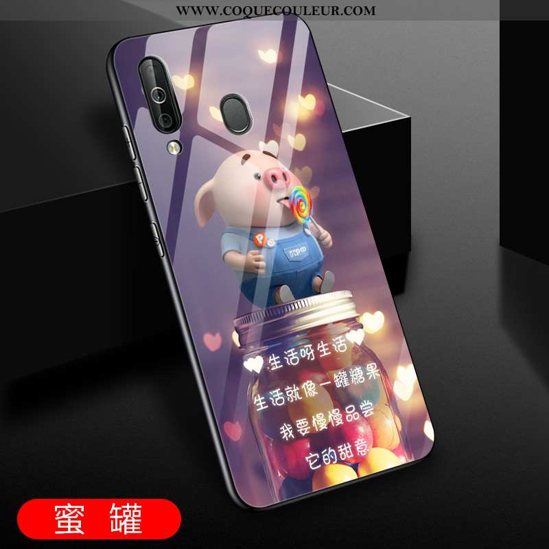 Housse Samsung Galaxy A60 Protection Net Rouge Incassable, Étui Samsung Galaxy A60 Verre Fluide Doux
