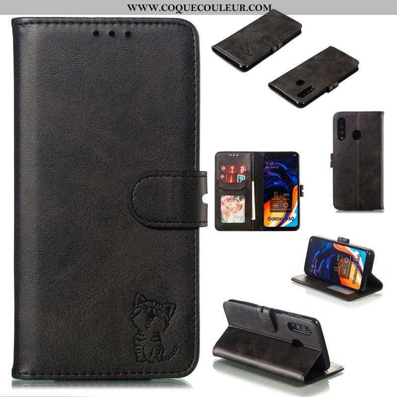Coque Samsung Galaxy A60 Protection Noir Housse, Housse Samsung Galaxy A60 Cuir