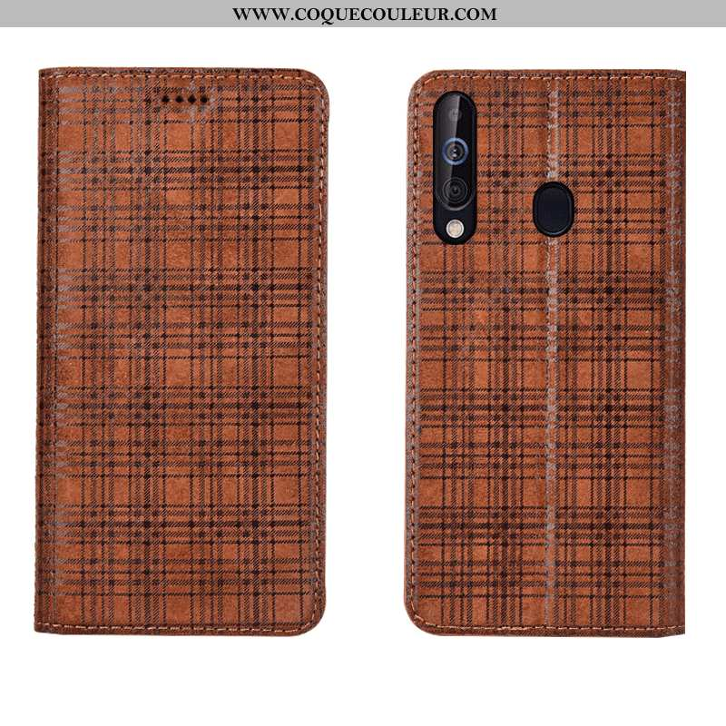 Coque Samsung Galaxy A60 Protection Velours Cuir, Housse Samsung Galaxy A60 Cuir Véritable Étoile Ma
