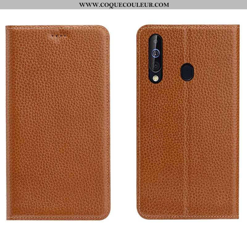 Coque Samsung Galaxy A60 Cuir Véritable Téléphone Portable Marron, Housse Samsung Galaxy A60 Cuir Ét