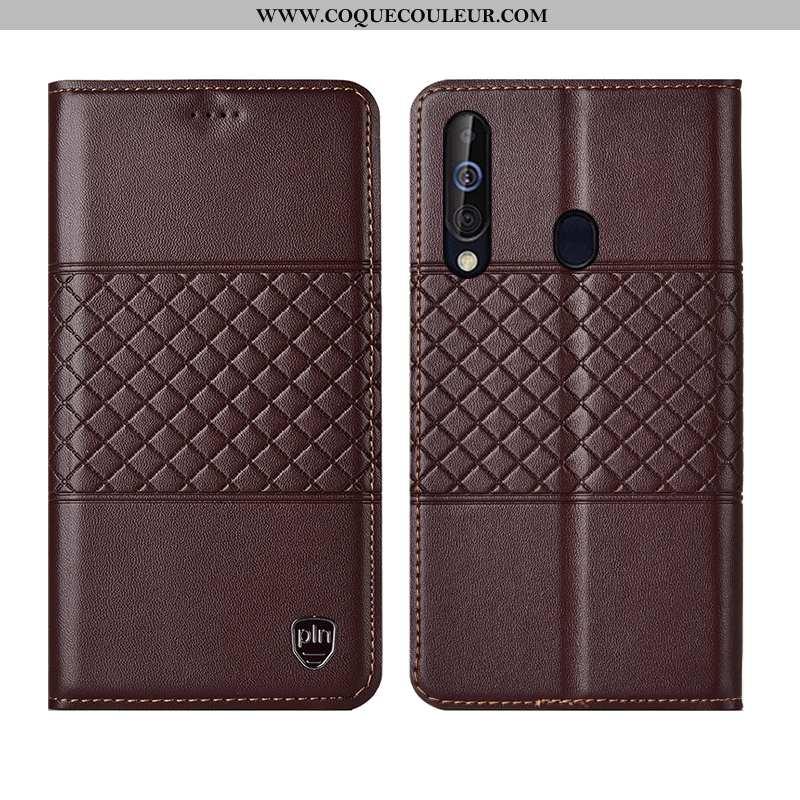 Étui Samsung Galaxy A60 Cuir Marron Téléphone Portable, Coque Samsung Galaxy A60 Cuir Véritable Véri