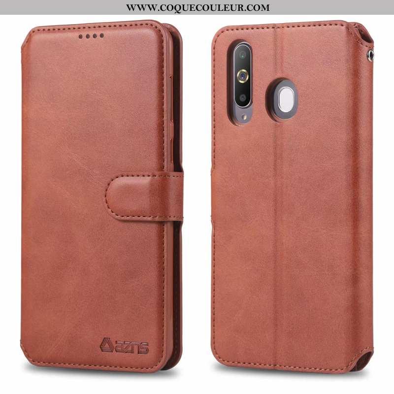 Coque Samsung Galaxy A60 Cuir Étui, Housse Samsung Galaxy A60 Fluide Doux Téléphone Portable Marron