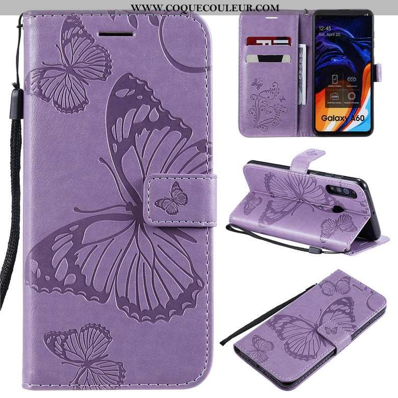 Housse Samsung Galaxy A60 Cuir Coque Violet, Étui Samsung Galaxy A60 Protection Violet