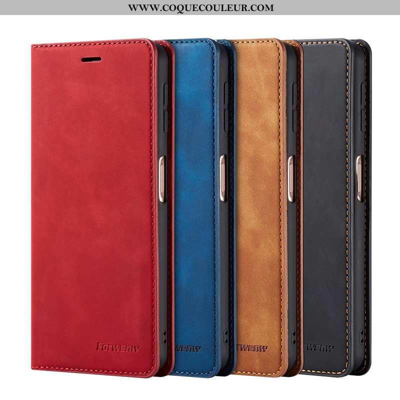 Housse Samsung Galaxy A60 Cuir Téléphone Portable Coque, Étui Samsung Galaxy A60 Rouge Carte