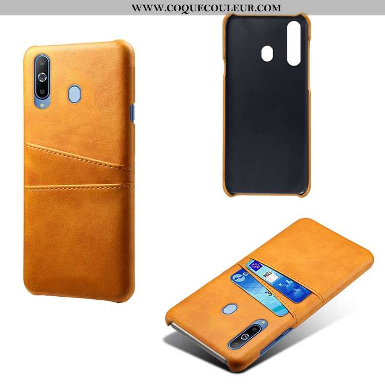 Housse Samsung Galaxy A60 Cuir Petit Téléphone Portable, Étui Samsung Galaxy A60 Modèle Fleurie Jaun