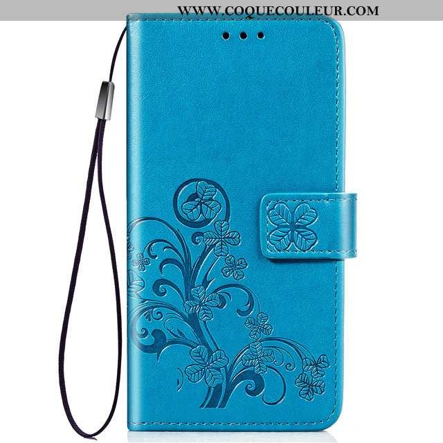 Housse Samsung Galaxy A60 Cuir Étui Clamshell, Samsung Galaxy A60 Fluide Doux Incassable Bleu