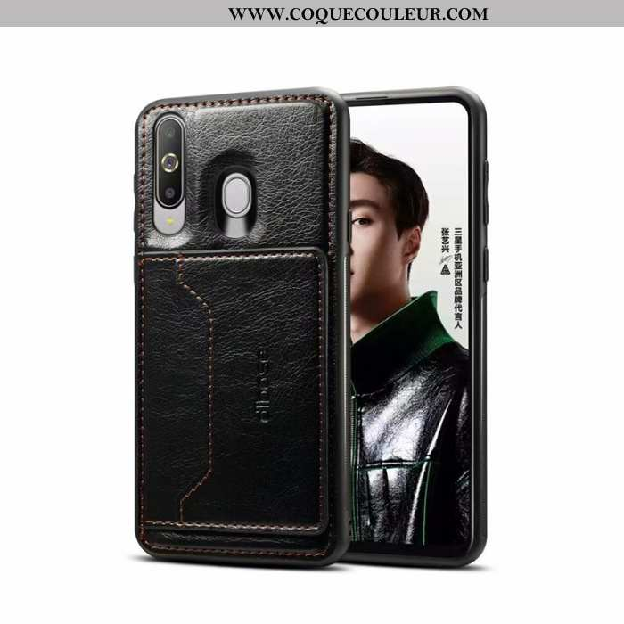 Étui Samsung Galaxy A60 Cuir Noir Tout Compris, Coque Samsung Galaxy A60 Placage Étoile