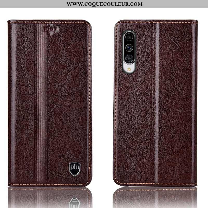 Coque Samsung Galaxy A70 Cuir Véritable Marron Housse, Housse Samsung Galaxy A70 Protection Étui