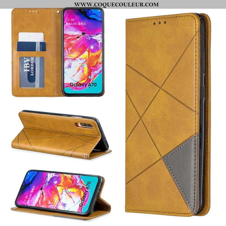 Coque Samsung Galaxy A70 Cuir Étui, Housse Samsung Galaxy A70 Protection Incassable Jaune