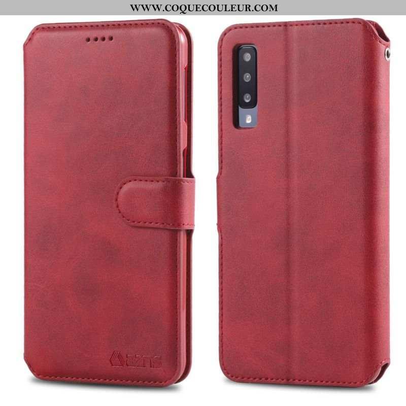 Housse Samsung Galaxy A70 Portefeuille Fluide Doux Étoile, Étui Samsung Galaxy A70 Cuir Coque Rouge