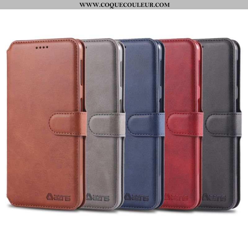Coque Samsung Galaxy A70 Cuir Silicone Marron, Housse Samsung Galaxy A70 Fluide Doux Portefeuille Ma