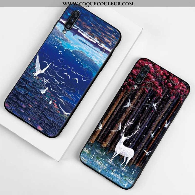 Étui Samsung Galaxy A70 Délavé En Daim Incassable Protection, Coque Samsung Galaxy A70 Gaufrage Bleu
