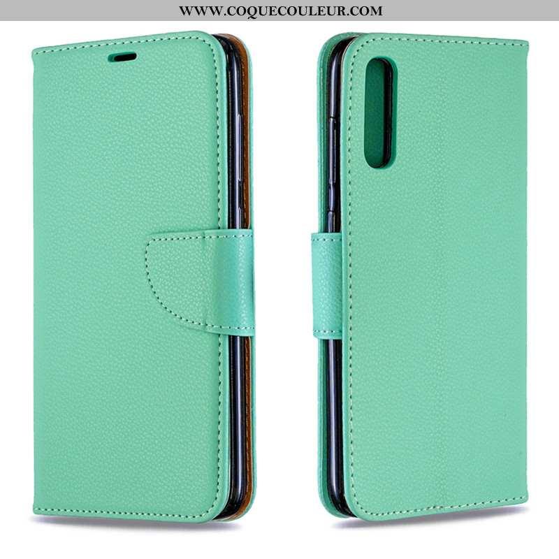 Coque Samsung Galaxy A70s Cuir Étoile Étui, Housse Samsung Galaxy A70s Protection Nouveau Verte