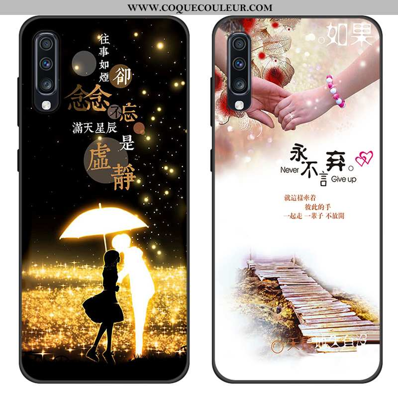 Coque Samsung Galaxy A70s Silicone Noir Étoile, Housse Samsung Galaxy A70s Protection Tout Compris
