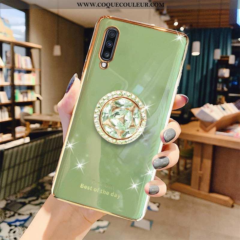 Étui Samsung Galaxy A70s Luxe Placage Vert, Coque Samsung Galaxy A70s Tendance Étoile Verte