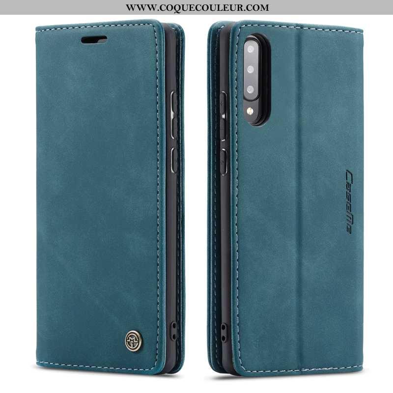 Étui Samsung Galaxy A70s Protection Housse Étui, Coque Samsung Galaxy A70s Cuir Véritable Bleu