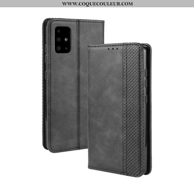 Housse Samsung Galaxy A71 Cuir Étui, Étui Samsung Galaxy A71 Protection Boucle Magnétique Noir