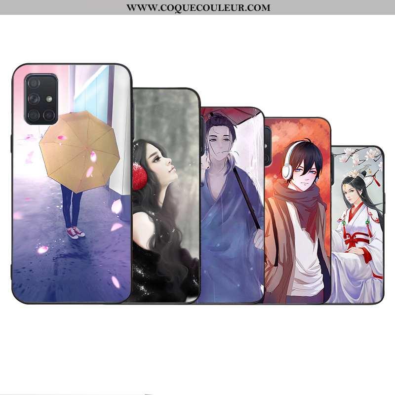 Coque Samsung Galaxy A71 Délavé En Daim Simple Étui, Housse Samsung Galaxy A71 Personnalité Violet