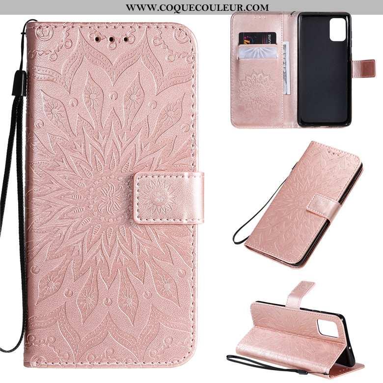 Housse Samsung Galaxy A71 Protection Rose Coque, Étui Samsung Galaxy A71 Cuir Téléphone Portable
