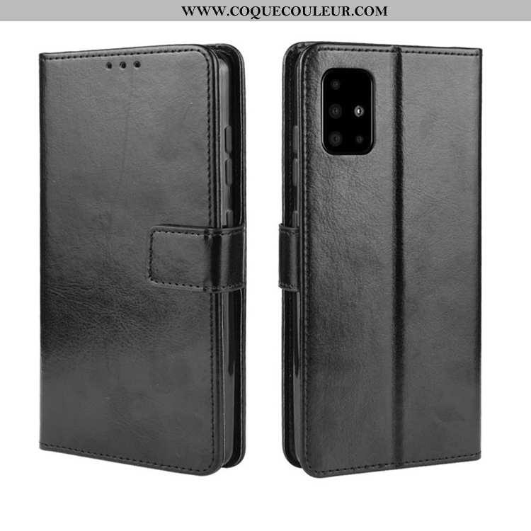 Housse Samsung Galaxy A71 Cuir Noir Téléphone Portable, Étui Samsung Galaxy A71 Coque Carte