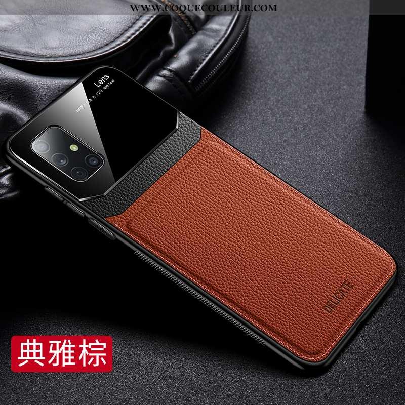 Housse Samsung Galaxy A71 Cuir Coque Incassable, Étui Samsung Galaxy A71 Modèle Fleurie Business Mar