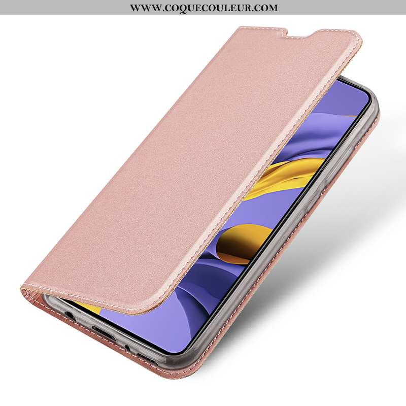 Housse Samsung Galaxy A71 Légère Carte Coque, Étui Samsung Galaxy A71 Cuir Magnétisme Rose