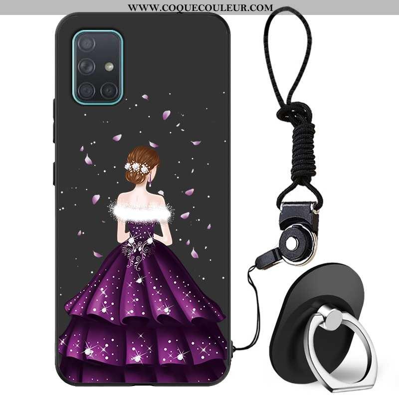 Étui Samsung Galaxy A71 Protection Coque Mode, Samsung Galaxy A71 Délavé En Daim Noir