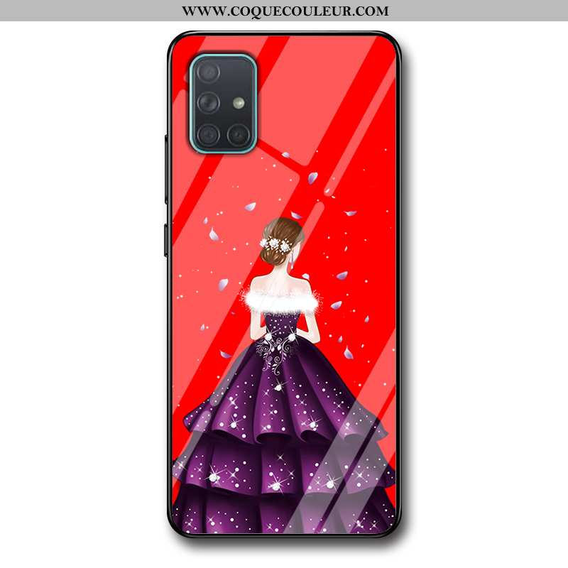 Étui Samsung Galaxy A71 Protection Étoile Silicone, Coque Samsung Galaxy A71 Verre Fluide Doux Rouge