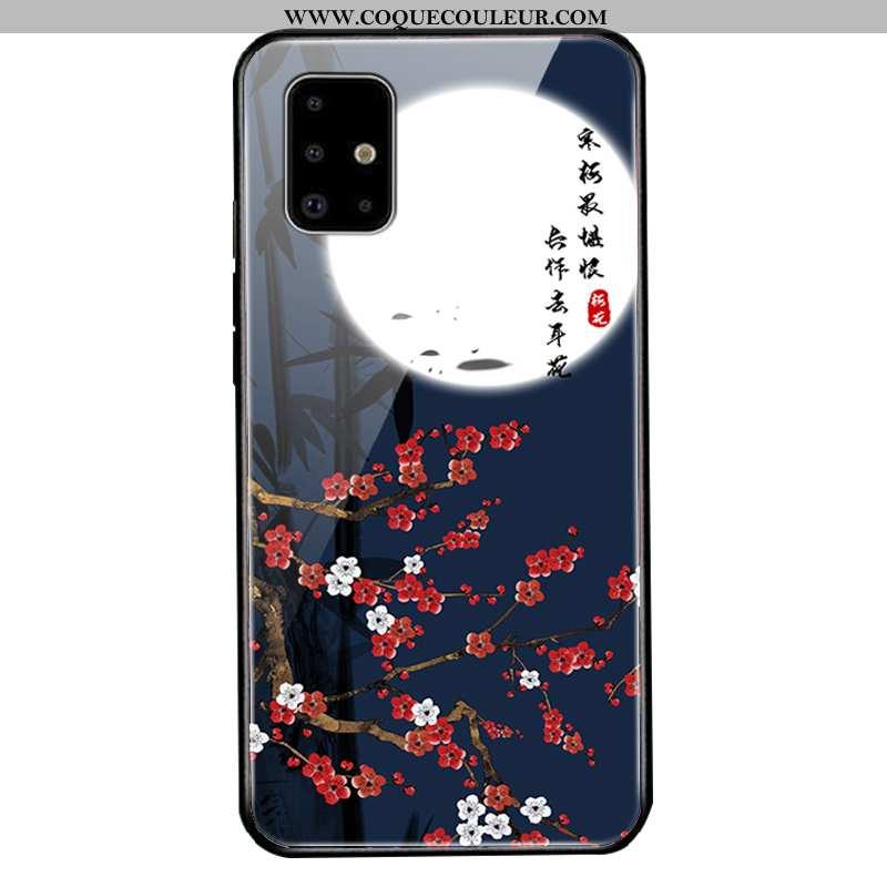 Étui Samsung Galaxy A71 Protection Étoile, Coque Samsung Galaxy A71 Verre Silicone Bleu Foncé