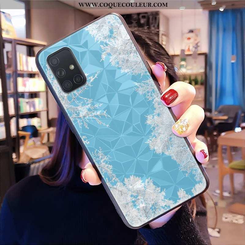 Housse Samsung Galaxy A71 Modèle Fleurie Téléphone Portable Bleu, Étui Samsung Galaxy A71 Étoile Net