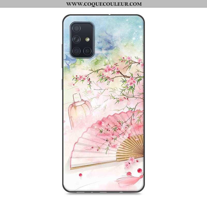 Coque Samsung Galaxy A71 Vintage Rose Style Chinois, Housse Samsung Galaxy A71 Silicone Étui