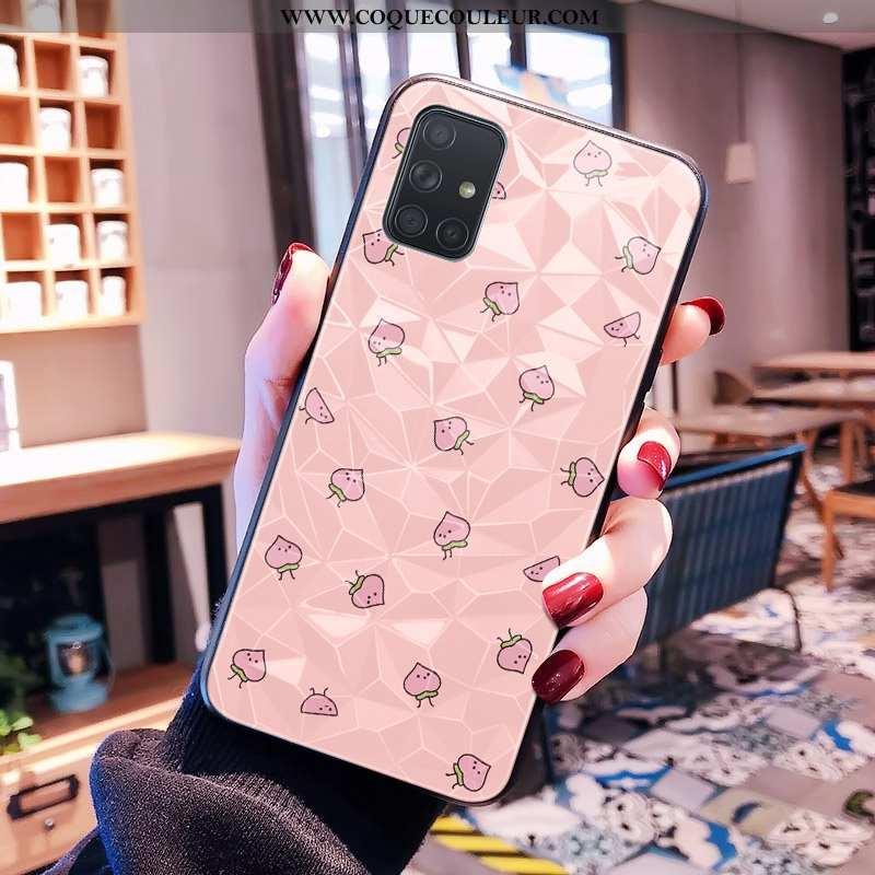 Housse Samsung Galaxy A71 Modèle Fleurie Petit Frais, Étui Samsung Galaxy A71 Rose Net Rouge