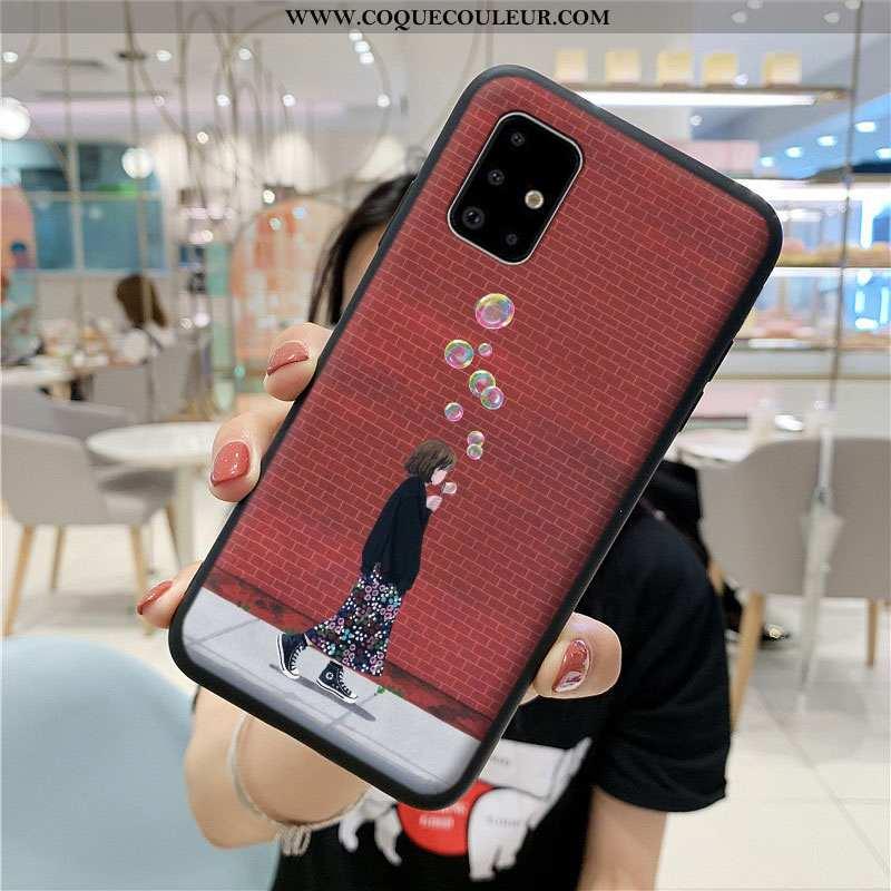 Housse Samsung Galaxy A71 Dessin Animé Rouge Incassable, Étui Samsung Galaxy A71 Fluide Doux Coque