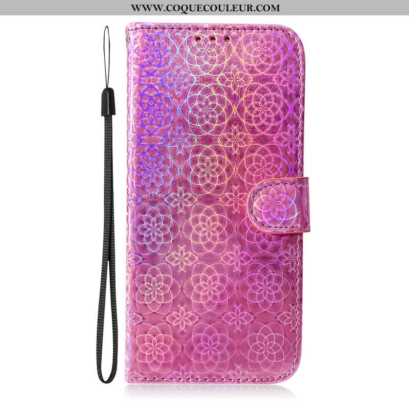 Coque Samsung Galaxy A71 Cuir Clamshell Coque, Housse Samsung Galaxy A71 Protection Incassable Rose
