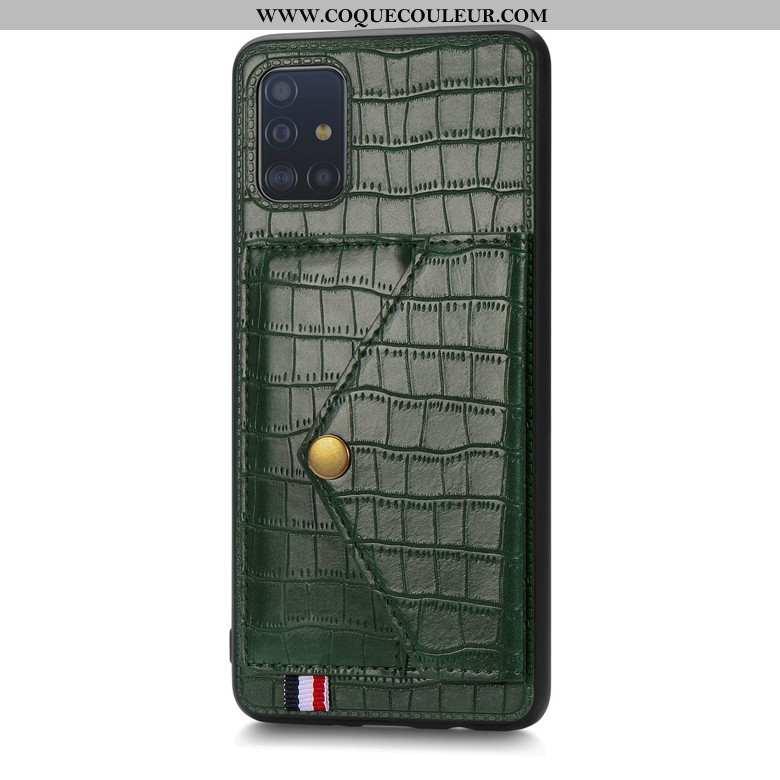 Housse Samsung Galaxy A71 Portefeuille Silicone Vert, Étui Samsung Galaxy A71 Modèle Fleurie Étoile