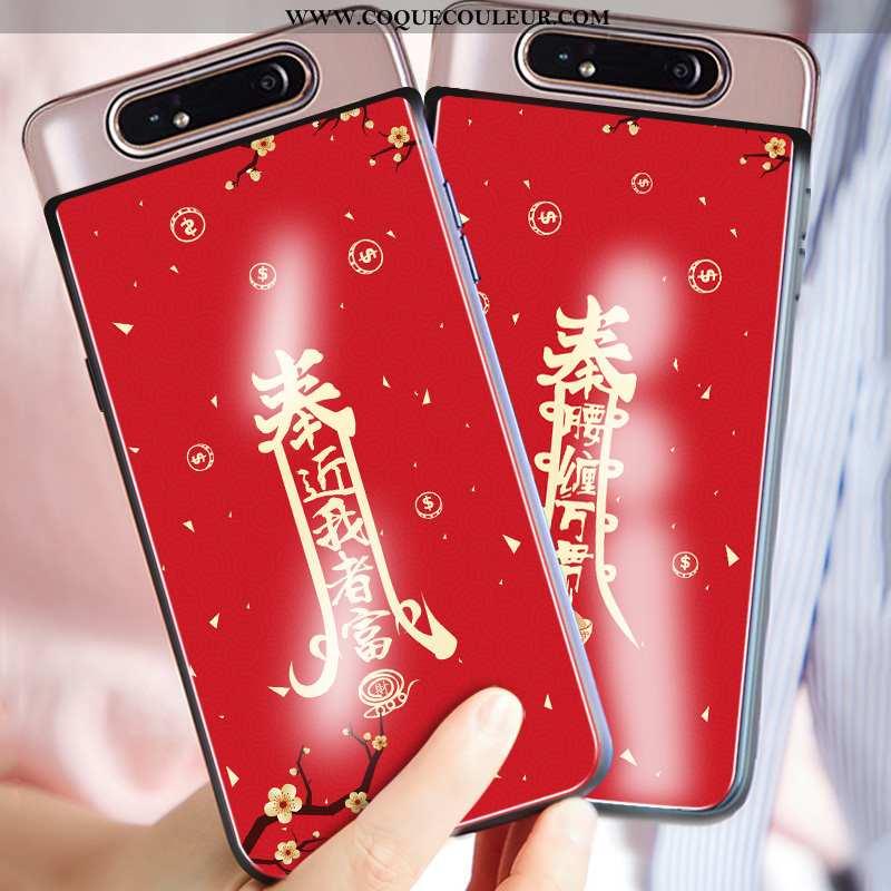 Étui Samsung Galaxy A80 Personnalité Coque Rouge, Samsung Galaxy A80 Créatif Téléphone Portable Roug