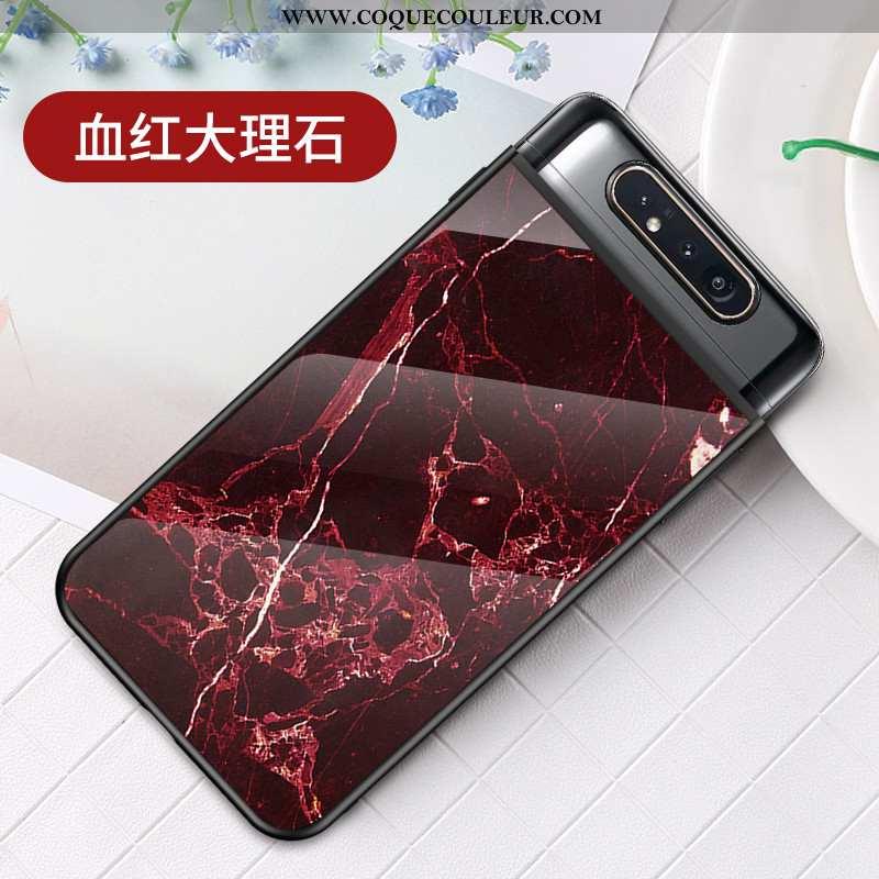 Étui Samsung Galaxy A80 Protection Nouveau Téléphone Portable, Coque Samsung Galaxy A80 Verre Rouge