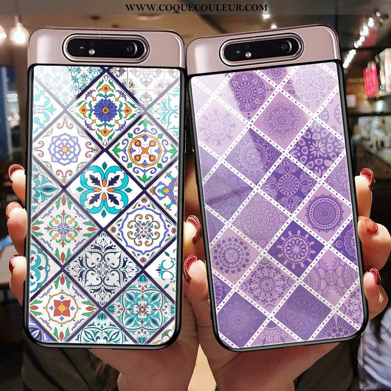 Étui Samsung Galaxy A80 Protection Coque Silicone, Samsung Galaxy A80 Verre Personnalité Violet