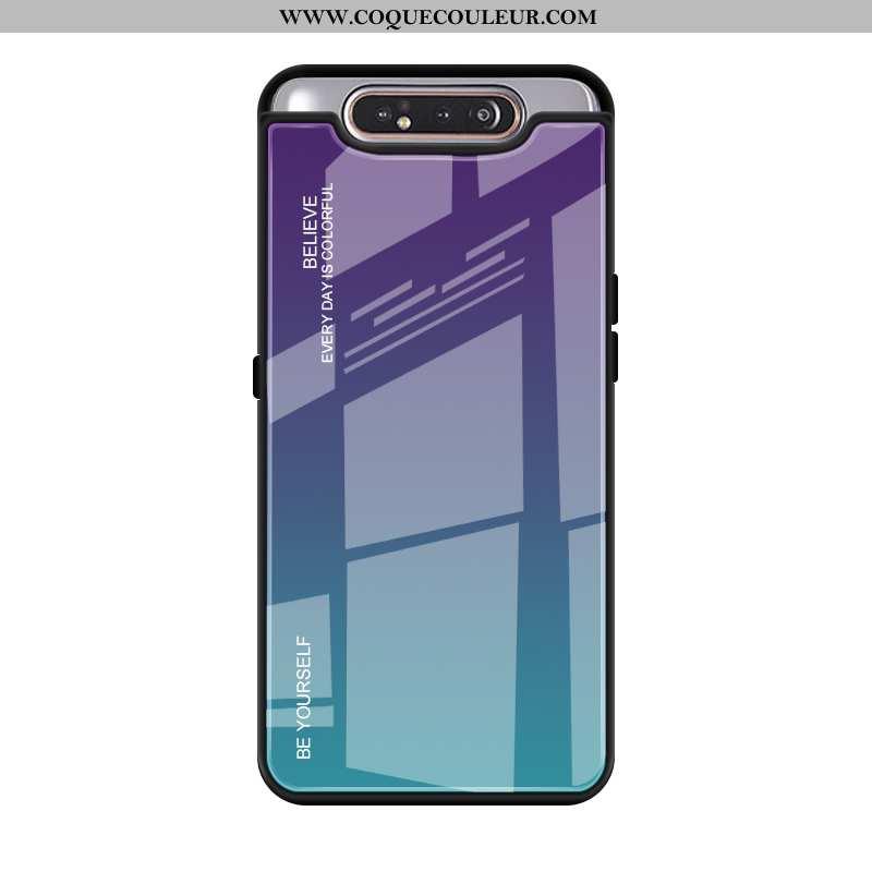 Étui Samsung Galaxy A80 Verre Téléphone Portable Étui, Coque Samsung Galaxy A80 Créatif Violet