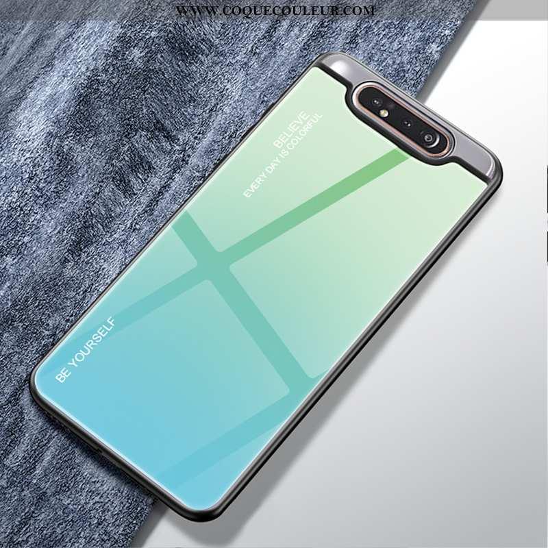 Étui Samsung Galaxy A80 Tendance Dégradé Luxe, Coque Samsung Galaxy A80 Protection Verre Verte