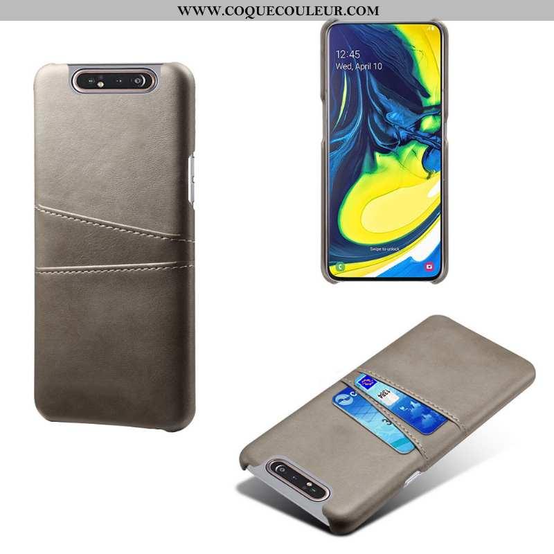Housse Samsung Galaxy A80 Cuir Vintage Personnalité, Étui Samsung Galaxy A80 Protection Gris
