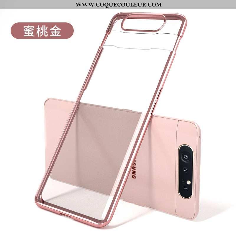 Housse Samsung Galaxy A80 Légère Créatif Placage, Étui Samsung Galaxy A80 Délavé En Daim Ultra Rose