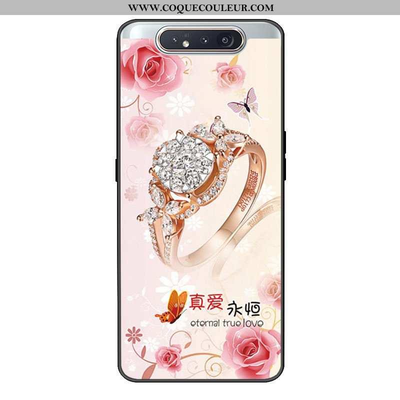 Housse Samsung Galaxy A80 Fluide Doux Rose Frais, Étui Samsung Galaxy A80 Silicone Personnalité