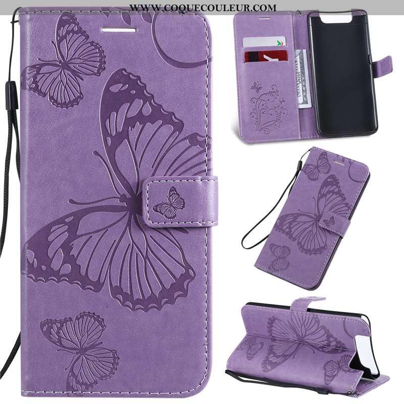 Coque Samsung Galaxy A80 Cuir Charmant Violet, Housse Samsung Galaxy A80 Protection Violet