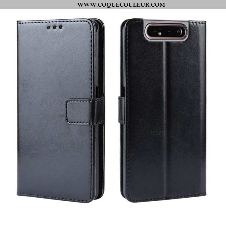 Étui Samsung Galaxy A80 Cuir Clamshell Carte, Coque Samsung Galaxy A80 Personnalité Portefeuille Noi