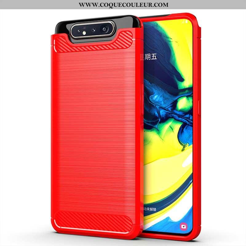 Housse Samsung Galaxy A80 Fluide Doux Étui Incassable, Samsung Galaxy A80 Silicone Rouge