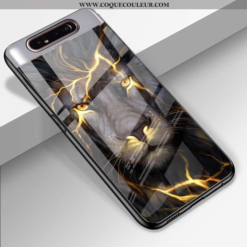 Étui Samsung Galaxy A80 Verre Coque Étui, Samsung Galaxy A80 Silicone Téléphone Portable Noir
